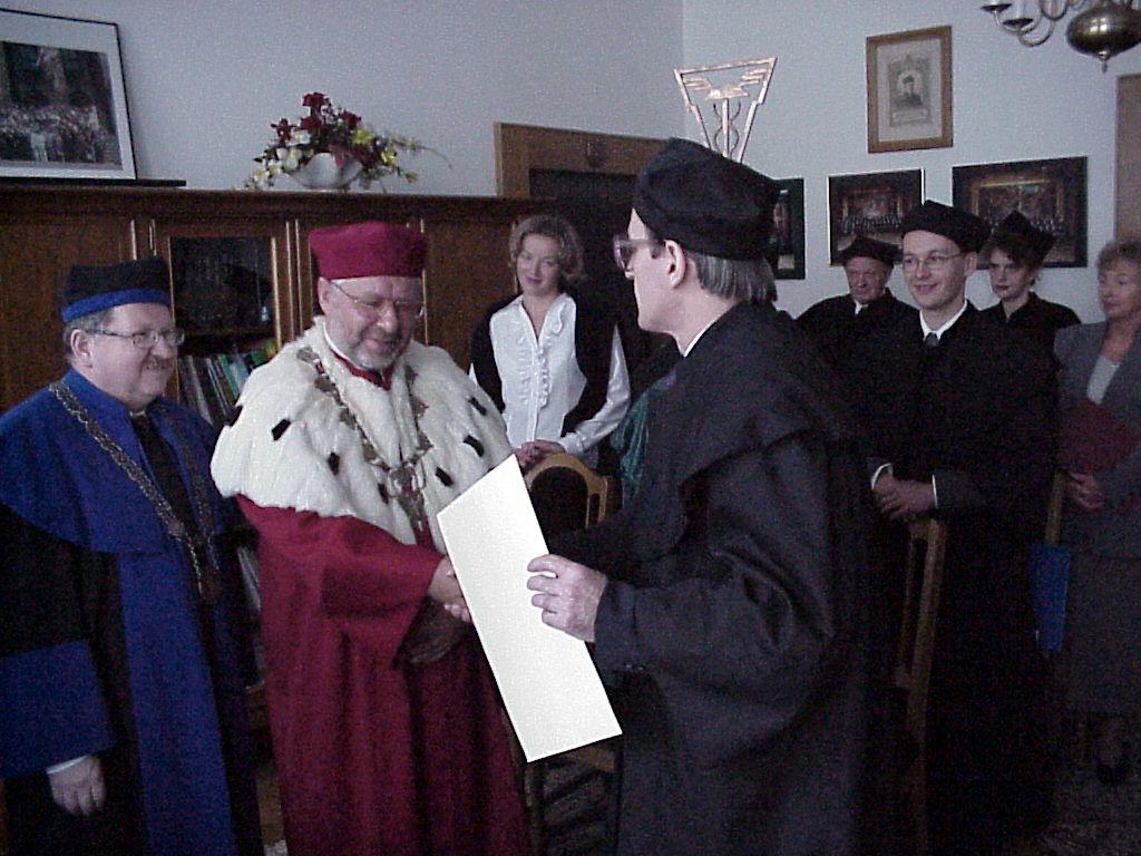 Promocja doktorska Bogdana Pilawskiego (na zdjęciu, od lewej: prof. dr hab. Bogusław Guzik, JM Rektor AE, prof. dr hab. Emil Panek, dr Bogdan Pilawski)