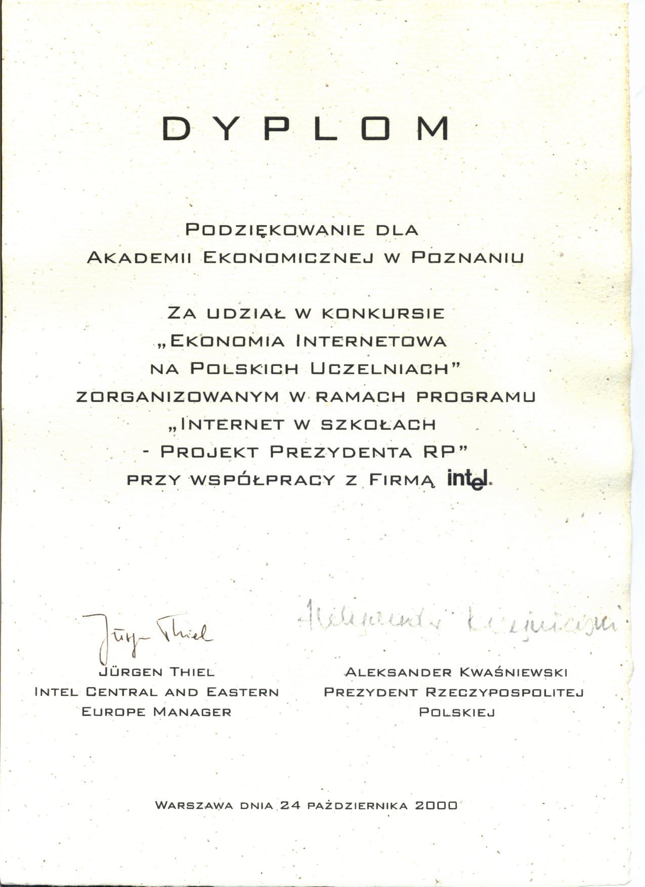 """Pierwsza nagroda w konkursie """"Ekonomia Internetowa na Polskich Uczelniach"""""""